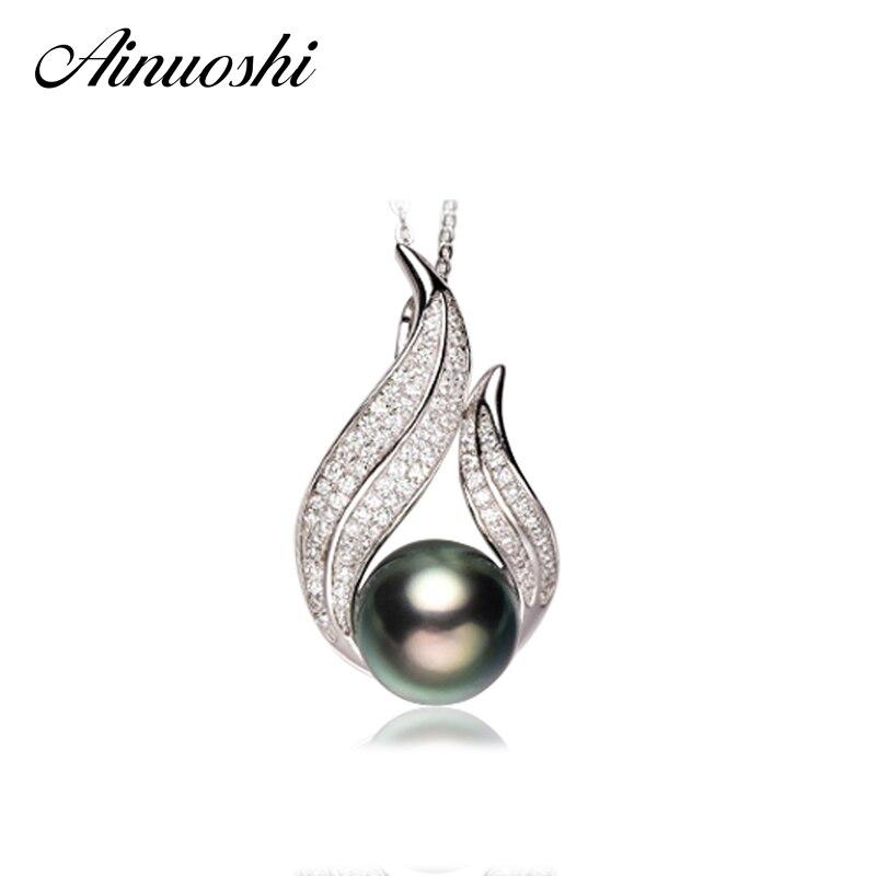AINUOSHI 925 argent Sterling Sona collier pendentifs naturel mer du sud noir Tahiti perle 11mm ronde perle fiançailles pendentifs