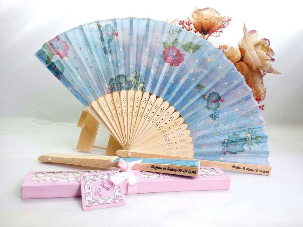 Personalised Wedding Gifts For Guests: 50Pcs Free Shipping Chinese Luxurious Printing Wedding Fan