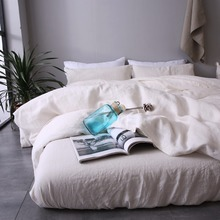 Duvet Cover Set 100% French Linen High Quality Solid 4Pcs Basic Style Free Shipping ESASILK