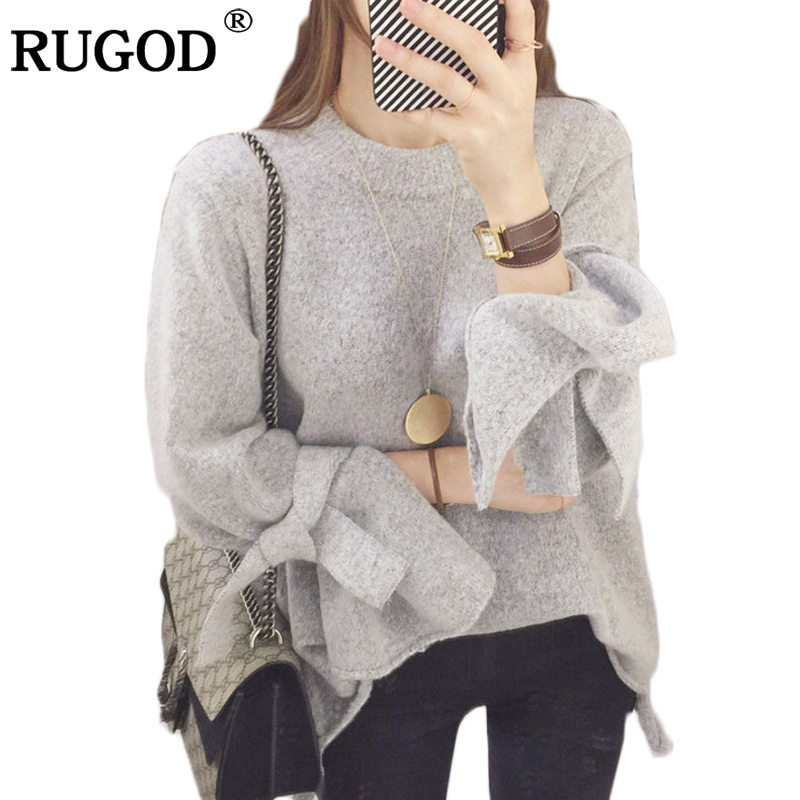 Rugod New Women Sweater and Pullovers 2017 winter sweater women lace up ruffle long sleeve o-neck Knitted jumper christmas tops