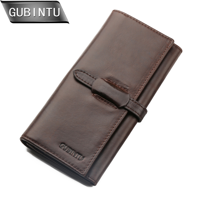 GUBINTU Brand 100% Genuine Cowhide Leather Men Long Wallet Coin Purse Vintage Designer Male Wallets Clutch Bag Carteira new luxury brand 100% top genuine cowhide leather high quality men long wallet coin purse vintage designer male carteira wallets