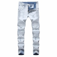 Top quality 2019 Fashion Jeans men's cross-border knee Ripped hole zipper foot beggar pants hot style denim vintage trousers цена 2017