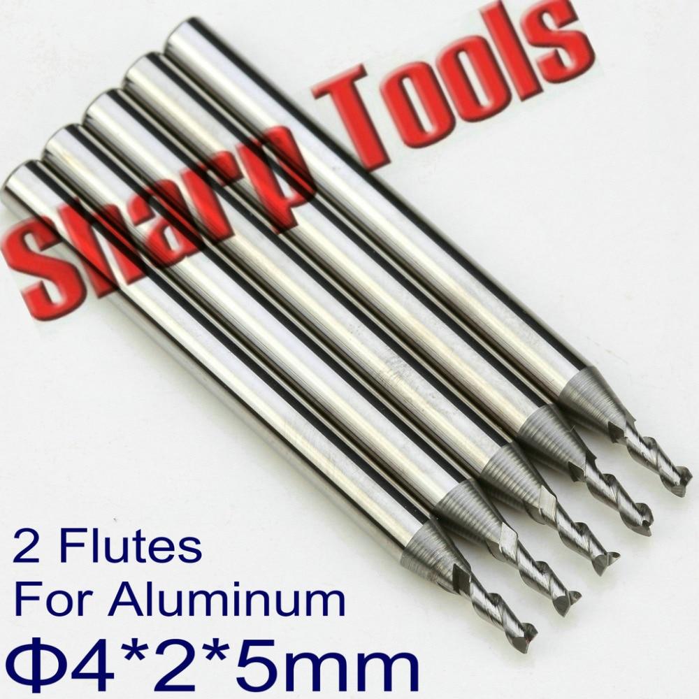 4*2*5mm 2 Flute Tungsten Carbide End Mills Cutter Aluminium CNC Bit Set, Micro CNC Router Cutters Tools End Mill for Aluminum