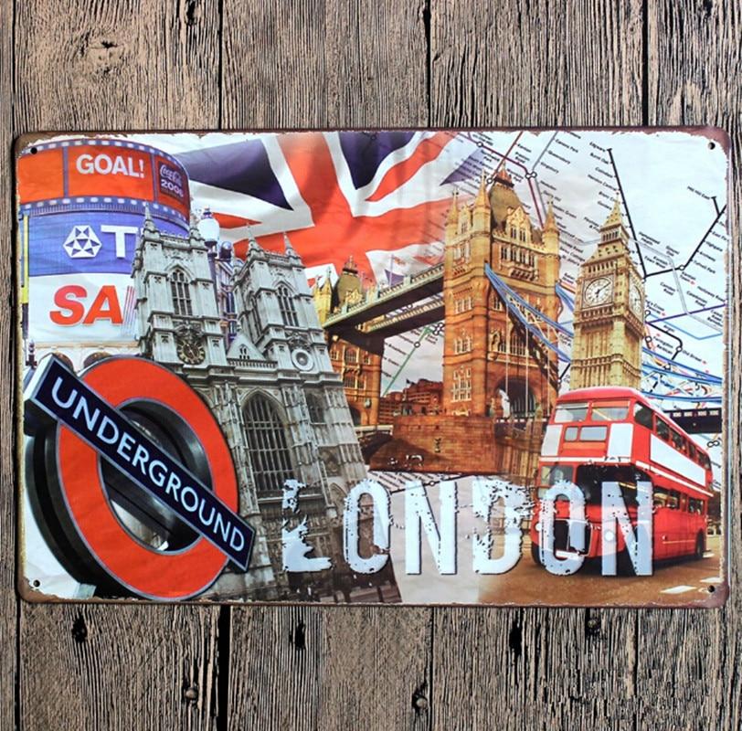 London Underground Vintage Home Decor 20*30 cm metal Sign Crafts For ...
