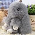 Adorable Conejito Llavero Pom de Piel de Conejo Rex Muñeca Bola Llavero Anillo Colgante Para El Bolso de regalo