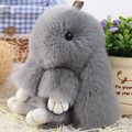 Loverly Bunny Rex Rabbit Fur Keychain Pom Doll Ball Key Chain Ring Pendant For Bag Handbag gift