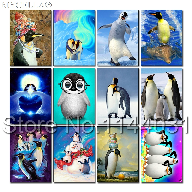 5D Diy Diamond Painting Cross Stitch Happy Feet Diamond Embroidery Mosaic Pattern Cute Penguin Picture Cartoon Kids For Gift