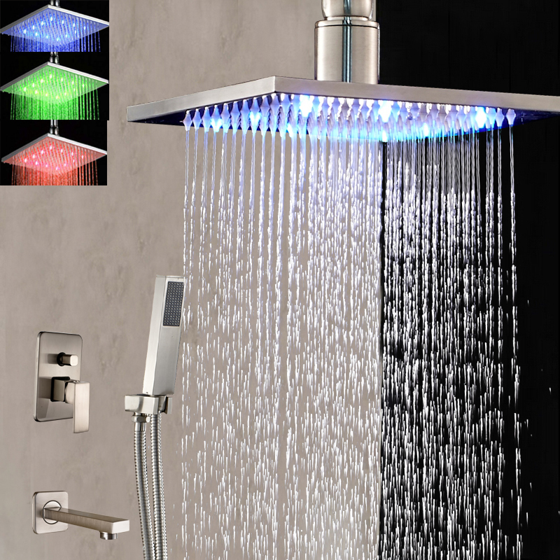 Ceiling Mounted LED Square Rain Shower Head Tub Spout Hand Shower Mixer Tap Nickel Brushed