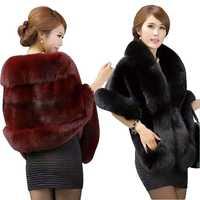 2018 New Autumn Winter Faux Fur Coats Women Thick Warm Faux Mink Fur Ponchos wedding dress shawl capes women vest fur coat Mw450