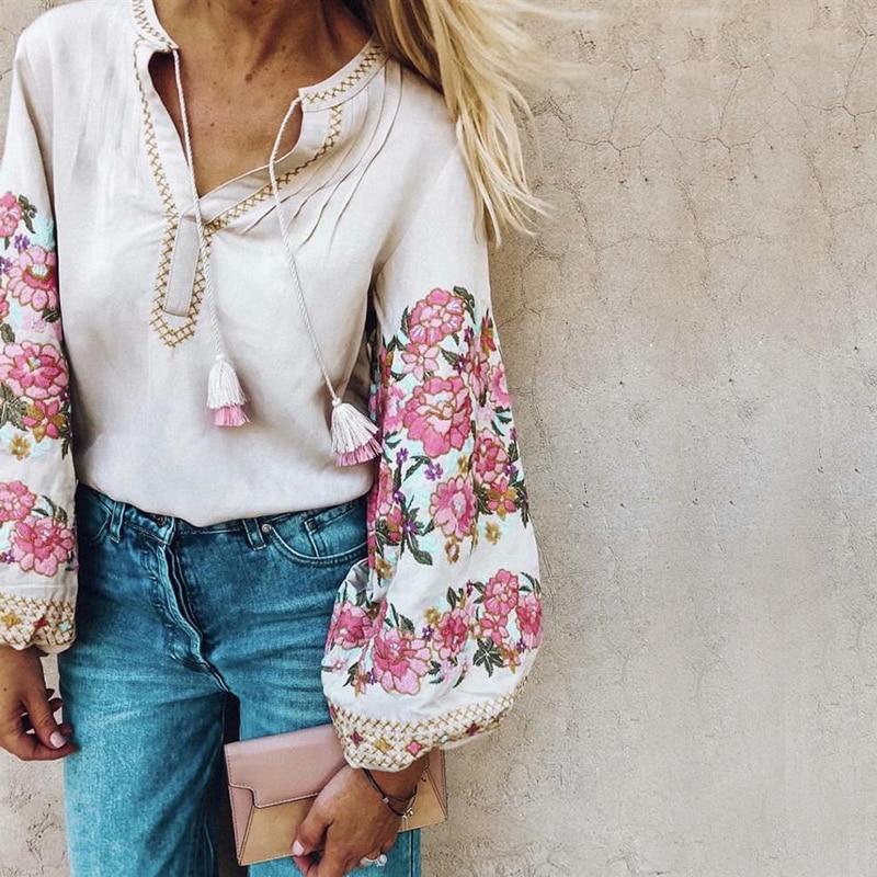 4f2bf1f30 Khale Yose Floral bordado blusas sueltas Camisas Mujer manga larga linterna  borla algodón Vintage Boho Hippie camisa blusa Tops