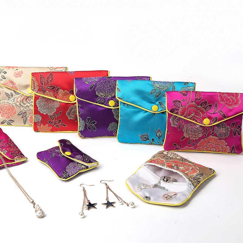 Китайская парча ручной работы шелковая вышивка мягкая молния маленькая Ювелирная Подарочная сумка для хранения сумка чехол с защелкой атласная портмоне оптом
