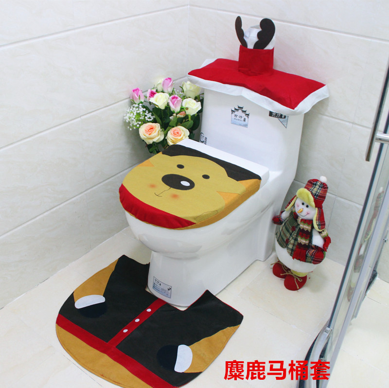 Wholesale Christmas Elk Three Piece Set Overcoat Toilet Case Water Tank  Cover Bathroom Non