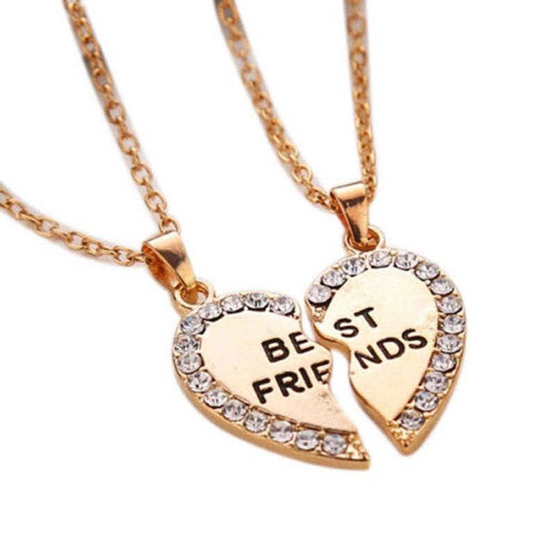 1 pair New Fashion Crystal Broken Heart Best Friend Necklaces Pendants For Women Fine Jewelry @M8694