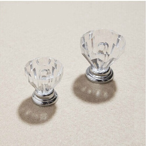 Free shipping diameter 25mm Clear Crystal drawer knobs kitchen cabinet handles dresser wardrobe bedside table pulls knobs