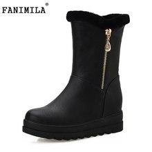 Tamaño 34-43 Cuñas de Las Mujeres Botas de Nieve Cremallera FANIMILA Media Corta botas de Piel Cálido Invierno Frío Botas Mediados de la Pantorrilla Botas de Las Mujeres calzados