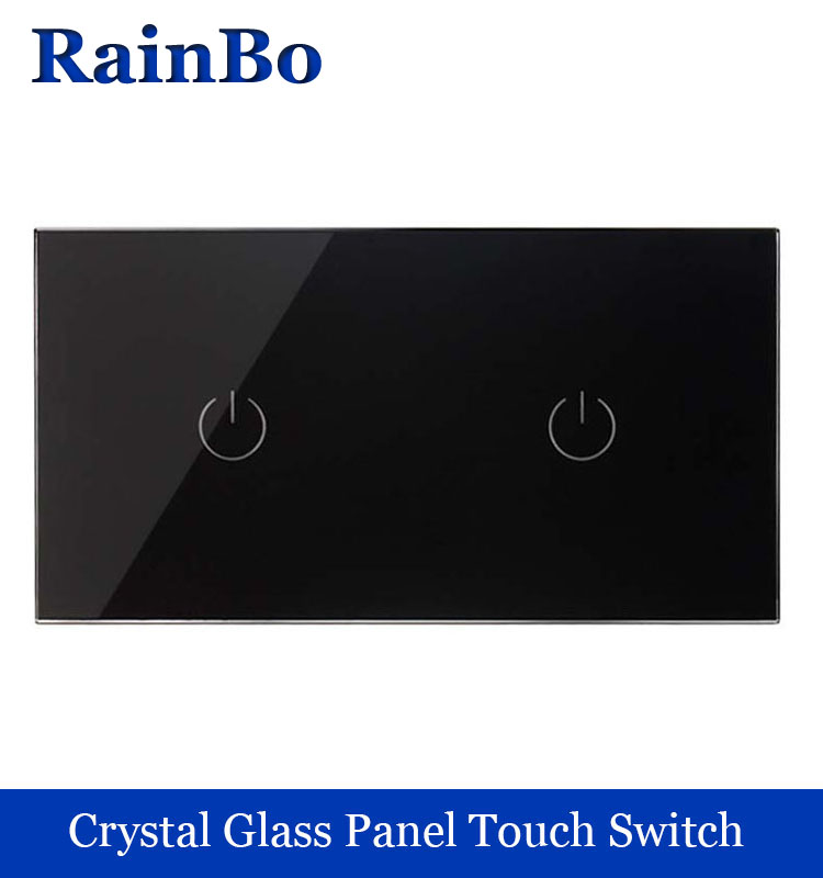 Touch Switch Screen Crystal Glass Panel Switch EU Wall Switch   Light Switch  1gang+1gang 1 way Black for LED Lamp rainbo crystal glass panel smart wireless switch eu wall switch 110 250v remote touch switch screen wall light switch 1gang 1way black