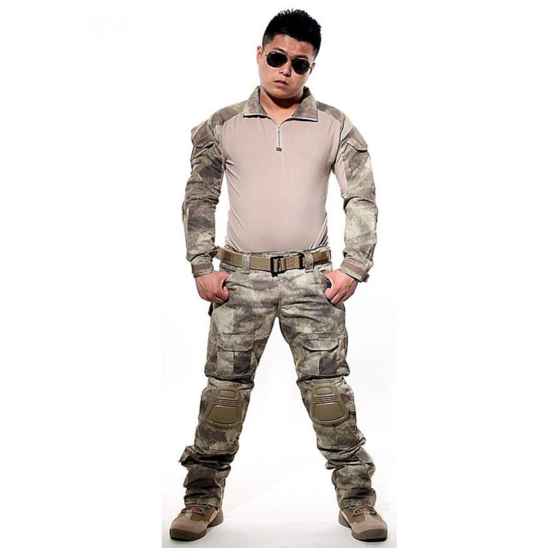 Military Tactical Suit Army Uniform Combat Shirt+Pants With Elbow Knee Pads Camo Set Airsoft Hunting Clothes Paintball Clothing desert digital camo hunting clothes with gen2 knee pads combat uniform tactical gear shirt and pants army bdu set page 9