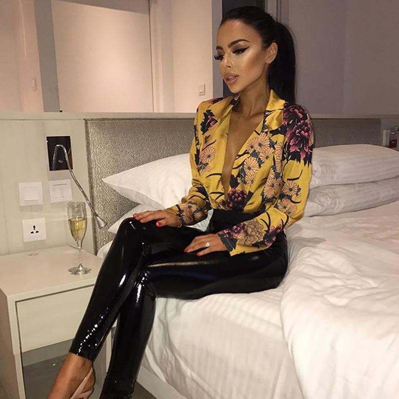Elegant Floral Print Satin Bodysuit Shirt Women 2019 Deep V Neck Long Sleeve Jumpsuit Romer Summer Streetwear Vintage Loose Tops