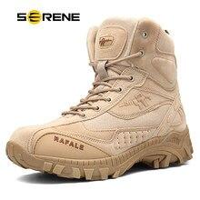 d444b95aa SERENO da Marca dos homens Novos Botas Tamanho Grande bota Militar Tático  de Combate Segurança Chukka homens Tornozelo Bot Motoc.