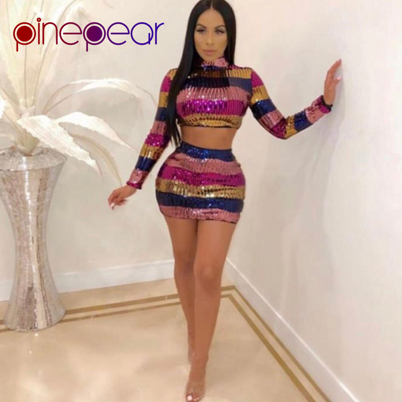 27251cb31f09 PinePear Colourful Striped Sequin Dress 2019 Winter Women Long Sleeve  Turtleneck Crop Top and Skirt 2 Piece Set Drop Shipping