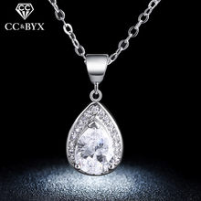 Vintage Water Drop Necklaces & Pendants Engagement Wedding Fashion Jewelry White Gold Color Necklace for Party Gifts N003(China)