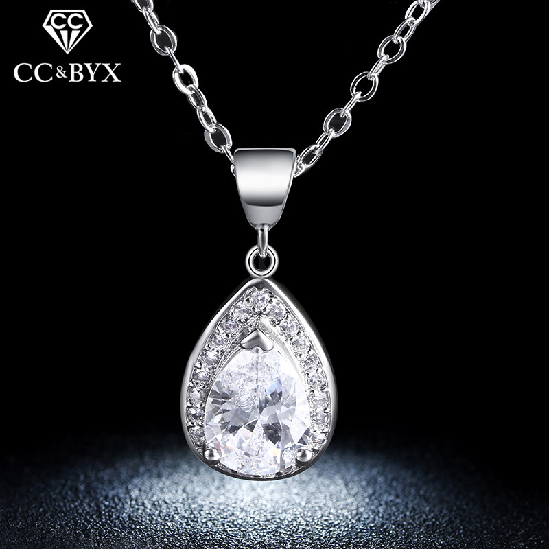 Vintage Water Drop Necklaces & Pendants Engagement Wedding Fashion Jewelry White Gold Color Necklace for Party Gifts N003