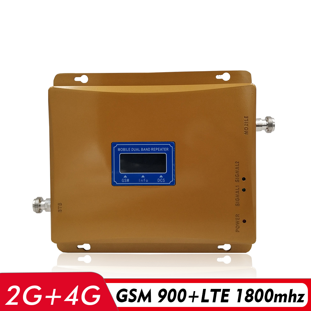 LCD Display 65dB Gain 2G 3G 4G Dual Band Signal Repeater GSM 900 DCS LTE 1800