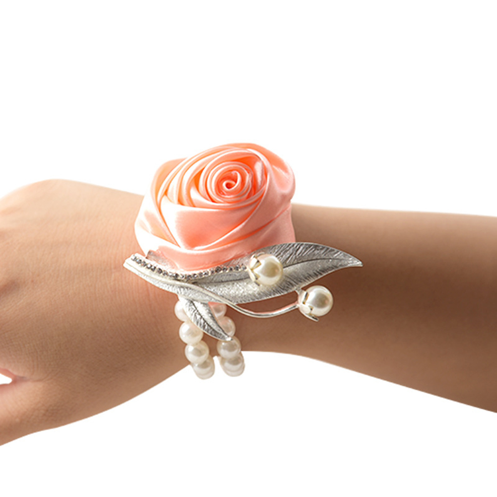 Silk Flower Bracelet Prom Hand Flowers Wedding Bride Bridesmaid Wedding Wrist Band Satin Rose Wrist Corsage
