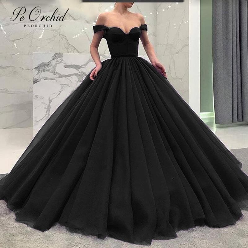 PEORCHID 2019 Black Ball Gown   Prom     Dresses   Tulle Off Shoulder Dubai Elegant Party Gowns For Women Evening   Dress   Green/Royal Blue