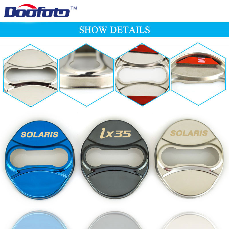 Doofoto Car Styling Stainless Steel Door Lock Covers Case For Hyundai Solaris Ix35 2011-2017 Auto Badge Emblems Accessories 4pcs