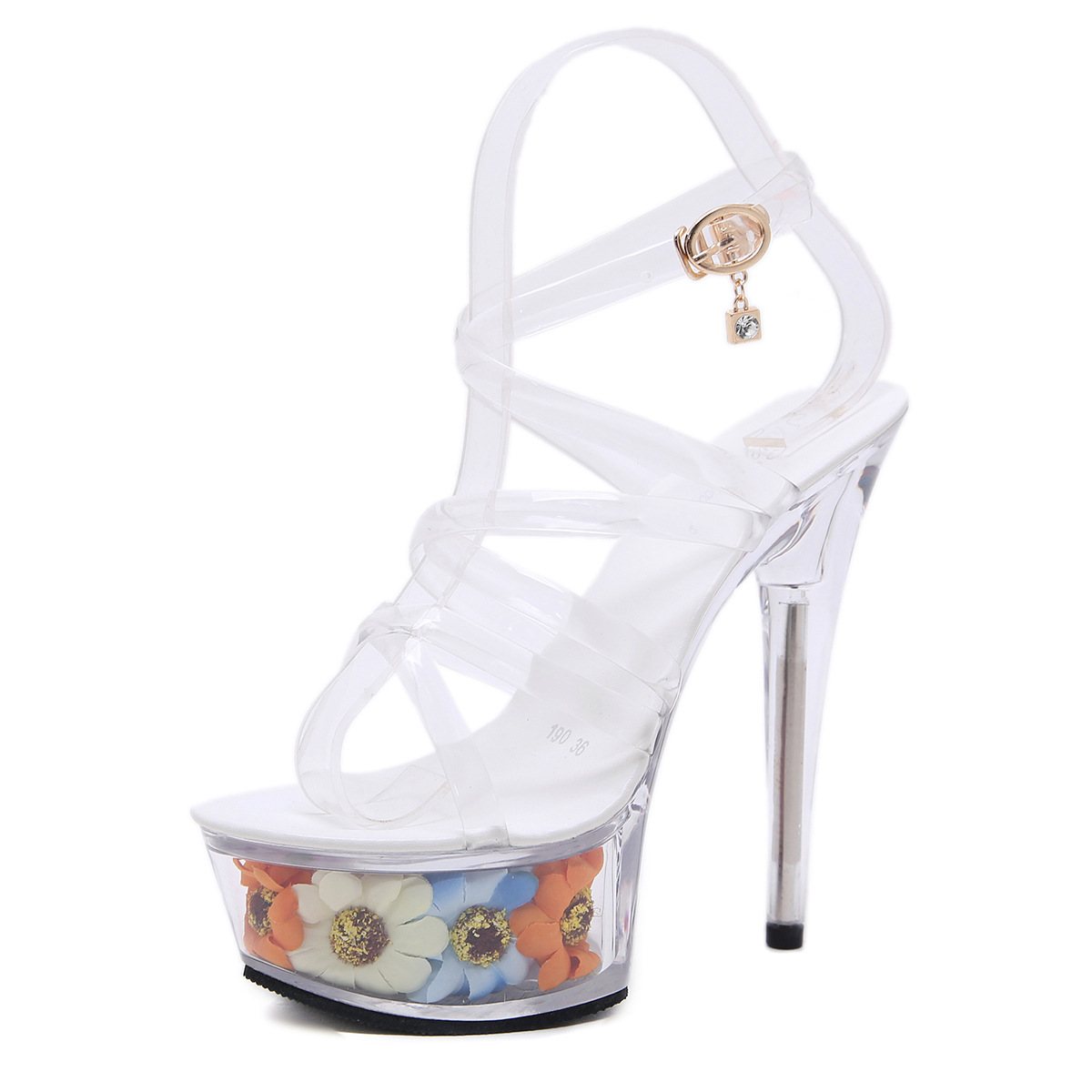 Gladiator High Heels Sandals Peep Toe Clear Heels Women Summer Transparent Shoes Flower Fashion Ladies Party Platform Sandals