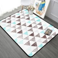 100X150CM Brown White Rectangle Carpets Nordic Style Blue Geometric Carpet Rug For Living Room Kids Bedroom Kids Play Floor Mat