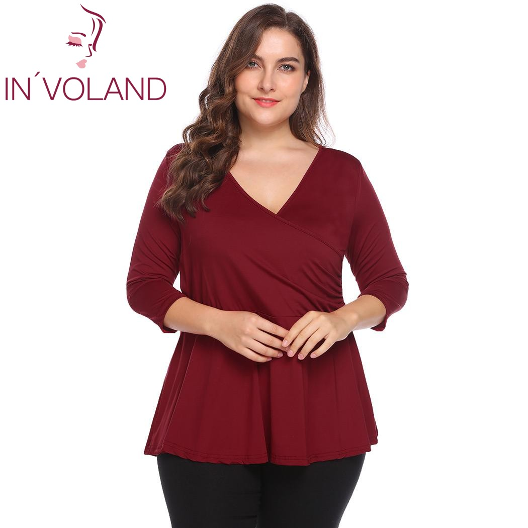 80083c2688e9f IN VOLAND Large Size 5XL Women T Shirt Tops Autumn Spring Vintage ...