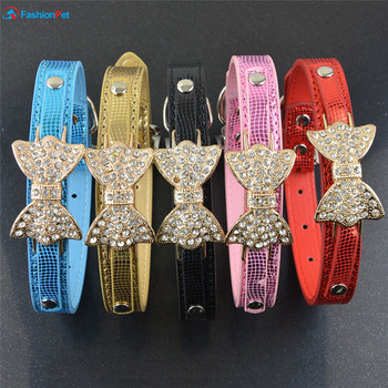 (30 Pieces/Lot)New Fashion Snake Pattern Dog Collar Bowknot Style Pet Dog Puppy Necklack Collar and Match Leash Lead