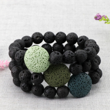 Lava Rock Adjustable Beaded Bangle Round Volcanic Stones Bracelet Essential Oil Diffuser Men Women Charm Strand Bracelet Bangles цена 2017