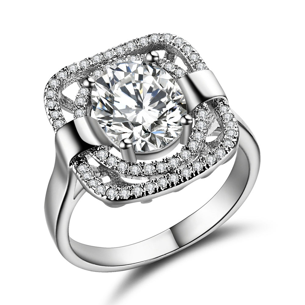 luxury silver plated wedding rings for men square large design gift hot sale new fashion jewelry cubic zircon engagement ring - Large Wedding Rings