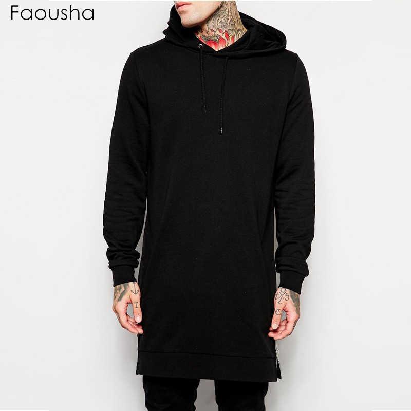 Faousha 2018 мужские новые уличные модные толстовки однотонные длинные толстовки высокого качества мужские хип-хоп молния Hoodiees Размер s-xxl