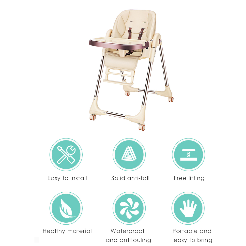 New Kids Baby Feeding Tray Safety Belt Strap Portable Adjustable Legs High Chair