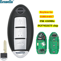 3 button keyless-go remote key fob FSK 434MHz PCF7953XTT chip for Nissan Teana S180144017 with uncut small key
