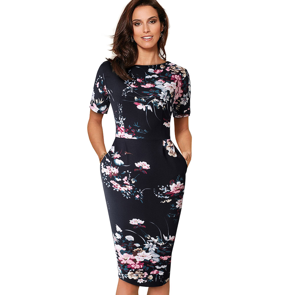 Nice-Forever Elegant Vintage Floral Print Casual Work vestidos Business Office Bodycon Sheath Women Dress B513