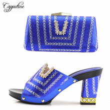 Capputine Newest African Women Slipper Shoes And Matching Bag Set Italian Design High Heels Shoes And Bag Set For Wedding Dress