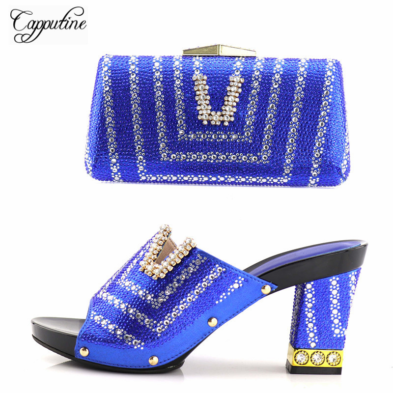 Capputine Newest African Women Slipper Shoes And Matching Bag Set Italian Design High Heels Shoes And Bag Set For Wedding Dress capputine italian fashion design woman shoes and bag set european rhinestone high heels shoes and bag set for wedding dress g40