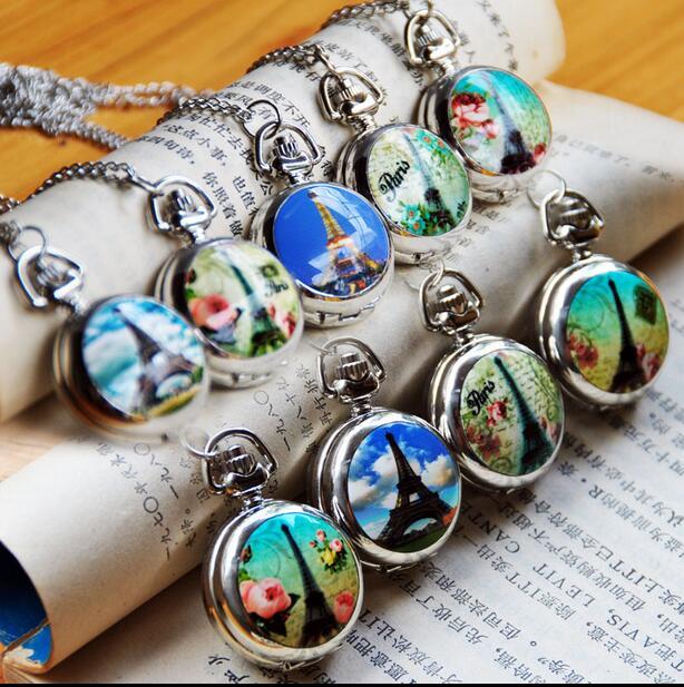 New Fashion Quartz Eiffel Tower Enamel Pattern Pendant Modern Hours Mirror Necklace Pocket Watches