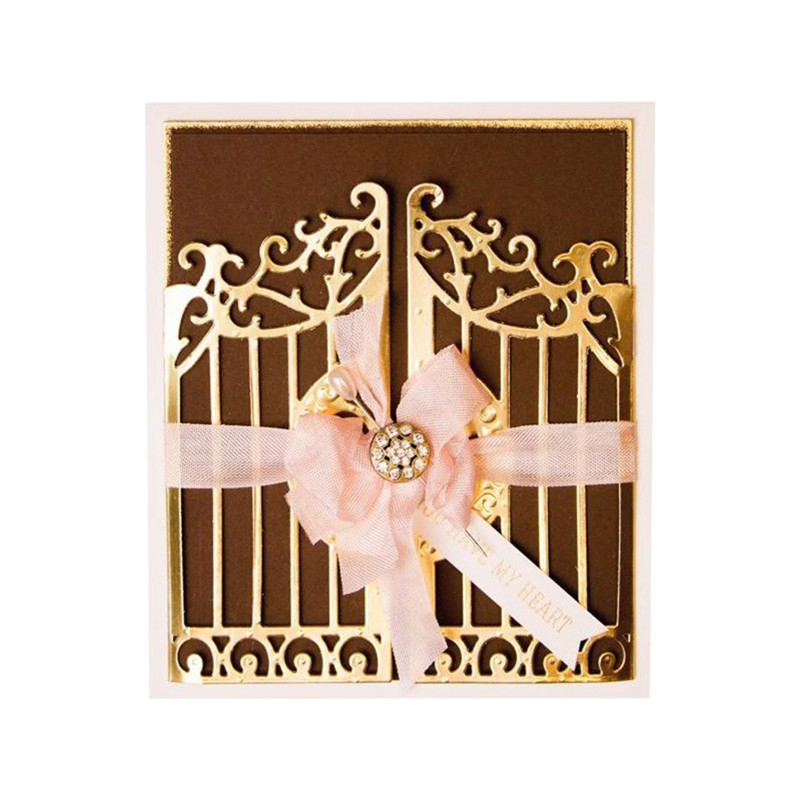 Jx-lclyl 1pc 101x57mm Flowers Gate Cutting Dies Stencil Paper Cards Embossing Die Cutter Craft Diy Scrapbooking & Stamping
