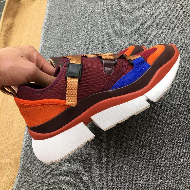 Vrouwen nieuwe lederen singels spons taart dikke zolen kleur bijpassende casual schoenen outdoor trend sport schoenen-in Platte damesschoenen van Schoenen op  Groep 3