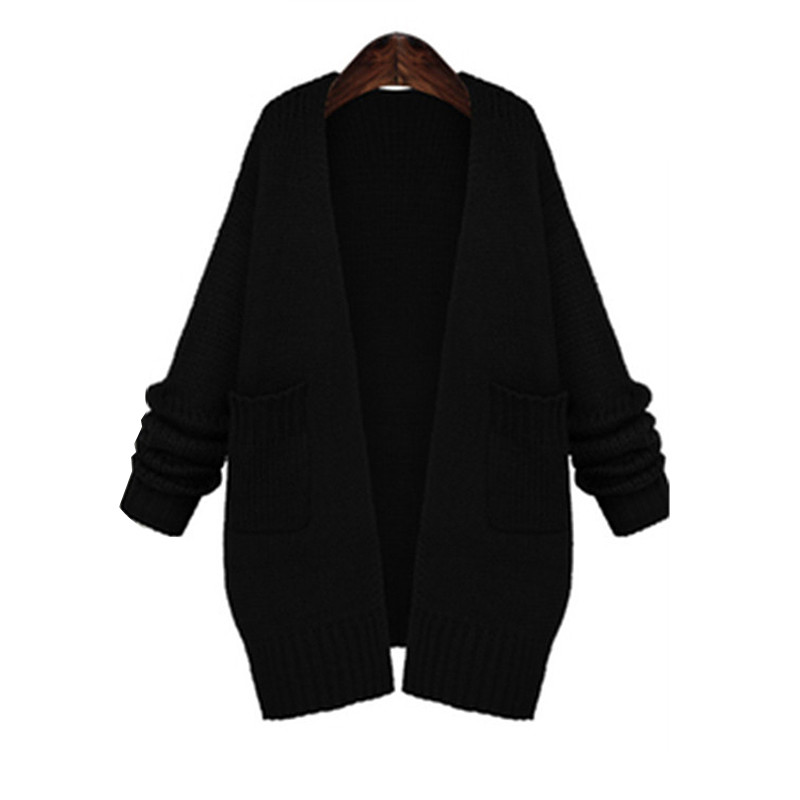 Women Long Sleeve Autumn Black Crochet Cardigan Casual Long Wool ...