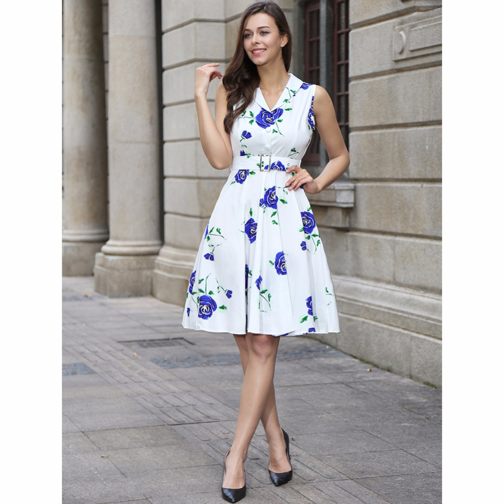 f0ed6c153f V Neck Skater Styles Floral Printed Retro Vintage 60s Midi Summer Knee  Length Elegant Classic Cotton Belted Women Fashion Dress-in Dresses from  Women s ...