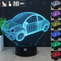 VW Beetle 3D Night Light RGB Mutável Lâmpada de Humor e LEVOU Luz dc 5 v usb candeeiro de mesa decorativo obter um free controle remoto