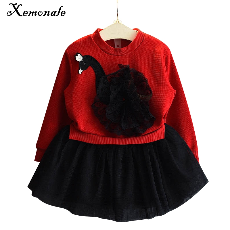 Xemonale Girls Lace Dress Winter 2016 New Autumn Kids Dresses Long Sleeved Cartoon Swan Lace Appliques Princess Dress 3-7Y girls dress winter 2016 new children clothing girls long sleeved dress 2 piece knitted dress kids tutu dress for girls costumes
