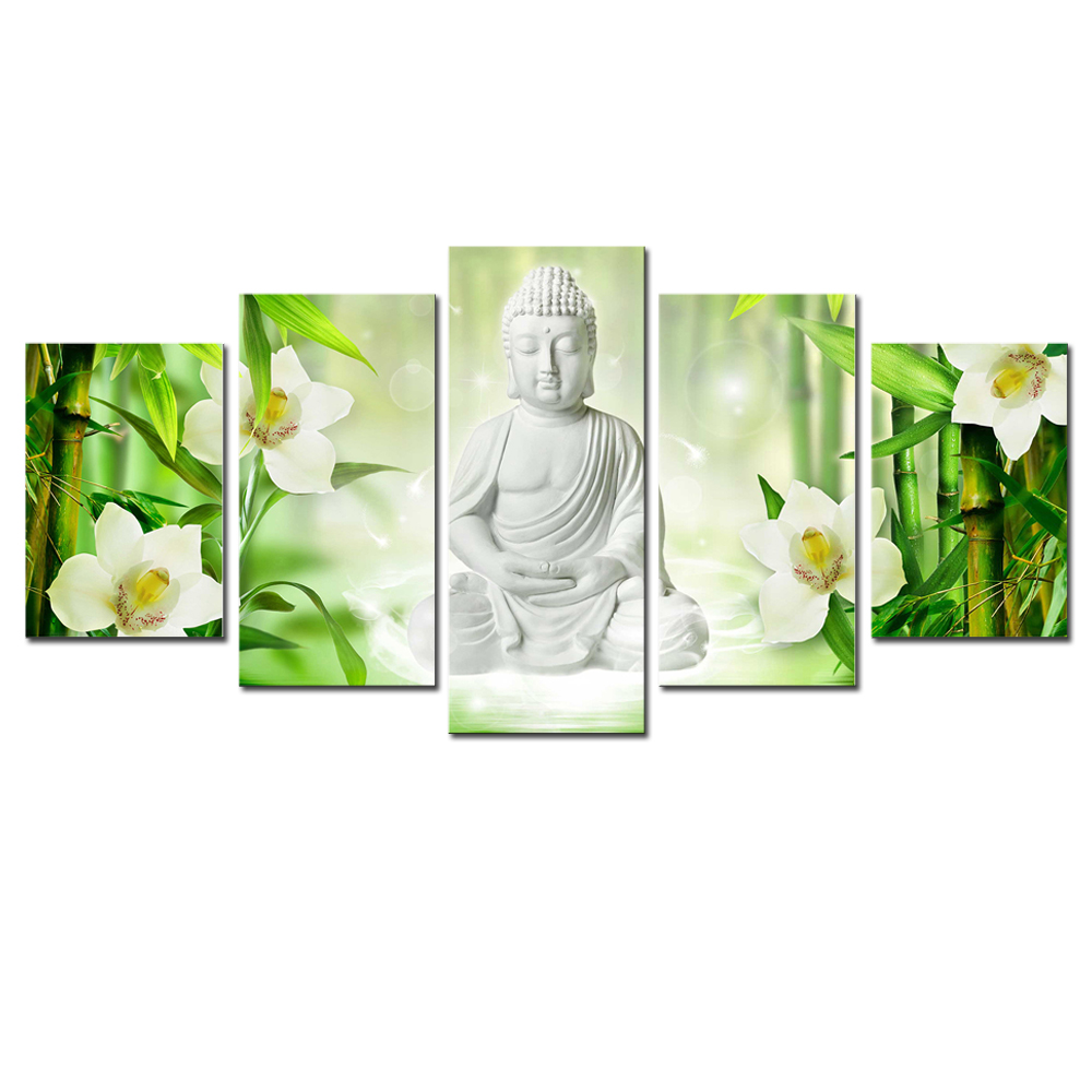 Framed Home Decor Canvas Print Painting Wall Art Buddha: 5 Pieces White Buddha Canvas Wall Art Framed Painting For